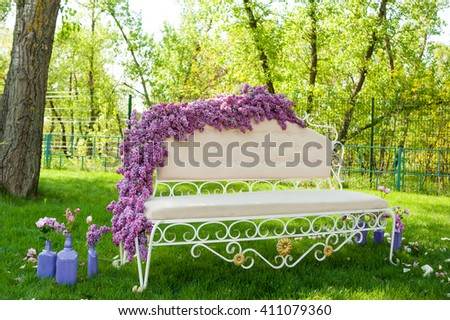 Wedding decorations. Flower design. Sofa