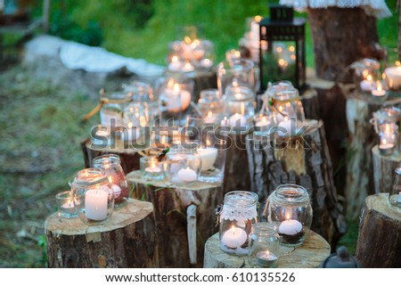Wedding decorations rustic style outing ceremony stock photo edit wedding decorations in rustic style outing ceremony wedding in nature candles in decorated junglespirit Gallery