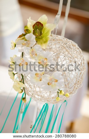 Wedding decorations tropical style, bridal flowers sea and ocean style arch, catering wedding ceremony, selective and soft focus, series - stock photo