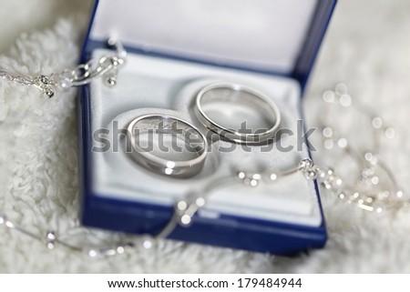 Wedding detail - beautiful rings of white gold  - stock photo