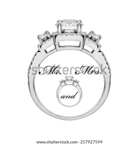 Wedding Diamond ring isolate on white background - stock photo