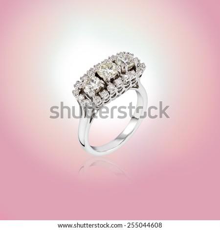 Wedding Diamond Ring on abstract blur background - stock photo