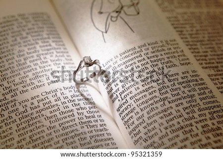 Wedding Diamond Rings On Bible Open Stock Photo Edit Now Shutterstock