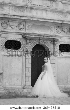Wedding. Dreams came true today. Full length soft focus monochrome shot of a beautiful young bride posing near the entrance to an old house. Old picture noise effect - stock photo