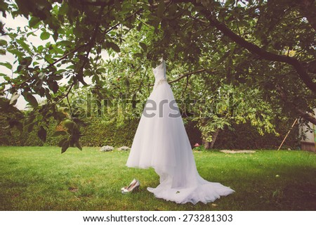 Wedding dress and shoes hanging on a tree in the park