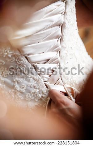 Wedding dress back - stock photo