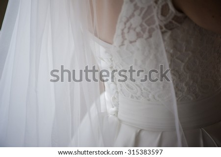 Wedding dress before ceremony. Bride preparing