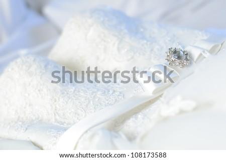wedding dress close up - stock photo