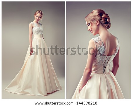 Wedding dress, different perspectives - stock photo
