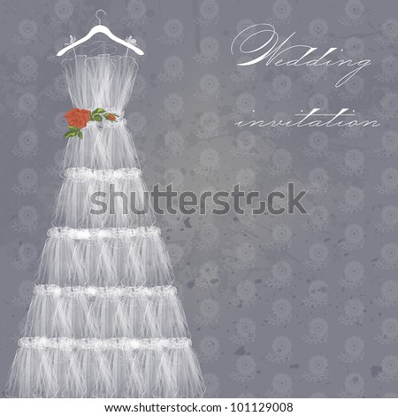 Wedding dress doodle for Wedding invitations or announcements - stock photo