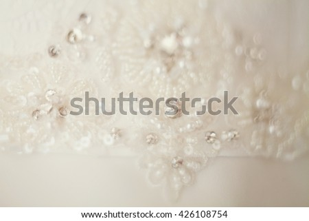 wedding dress with lace and beads - stock photo