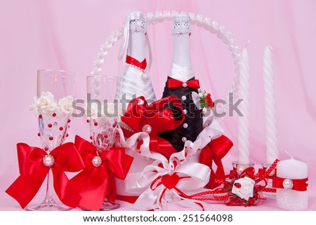 Wedding festive red wine glasses set of glass bottles and candles