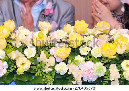 Wedding, flower arrangements decorated the terraced - stock photo