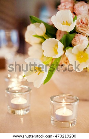wedding flower composition and candles