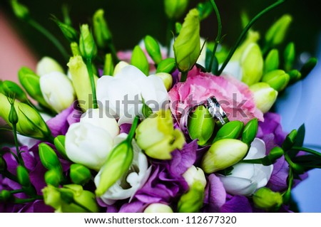 Wedding Flower with shoes - hydrangea with Freesia - stock photo