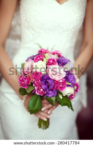 wedding flowers bouquet bride marriage - stock photo