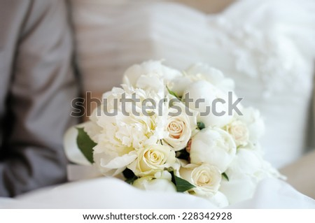 Wedding flowers bouquet, closeup photo