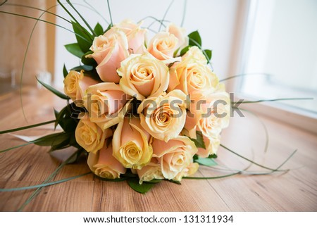 wedding flowers from yellow roses - stock photo
