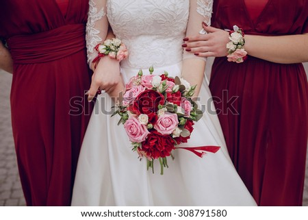 Wedding flowers in a beautiful bouquet bride and bridesmaid - stock photo