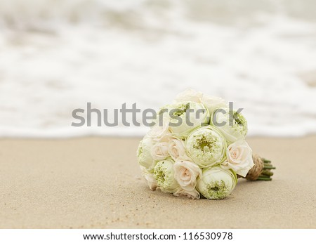 wedding flowers lotus on the beach.Vintage color style - stock photo