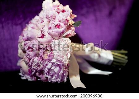 Wedding flowers - peony bouquet  - stock photo