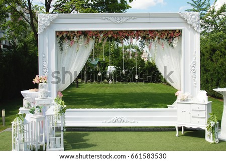 Wedding frame arch photo zone decorations stock photo for Decoration zone