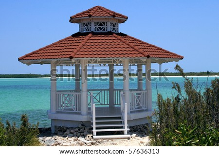 Wedding gazebo on a tropical beach - stock photo