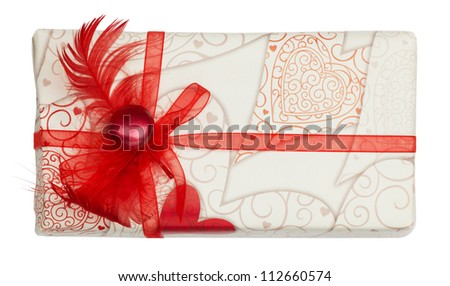 wedding gift on a white background. isolated - stock photo