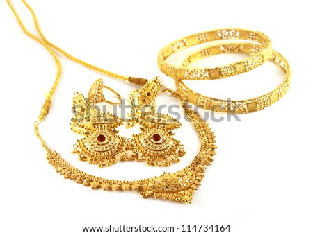 Wedding gold jewelry for Indian bride - stock photo