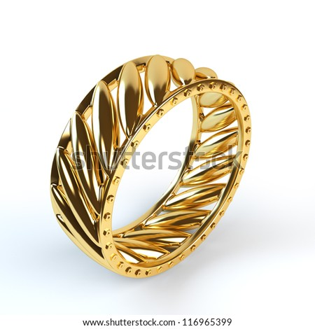 Wedding gold ring isolated on white background