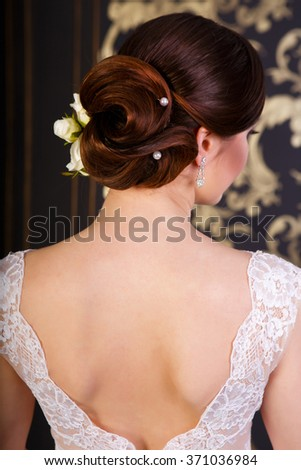 Wedding hairstyle for a bride  - stock photo