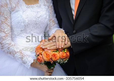 Wedding hands - stock photo