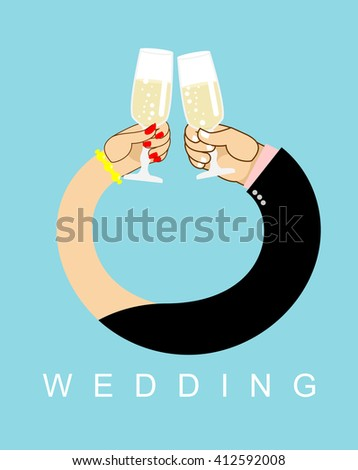 Wedding. Hands entwined, men and women in ring. Drink champagne out of glasses. Newlyweds drink wine.  Allegory of love - stock photo