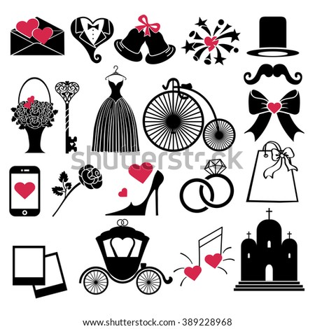 Wedding  icons silhouette for Web and Mobile,flat black sign.Retro  Design ,Set of  wedding items.Colored volume elements insulated in white background.Vintage Illustration,Holiday symbol,infographics