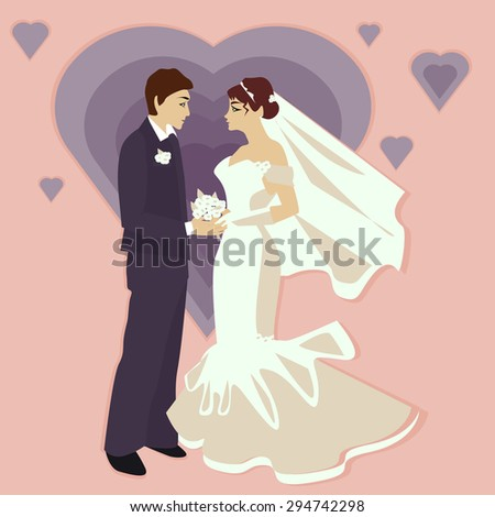 Wedding illustration in a flat style, the bride and groom on the background of the heart - stock photo