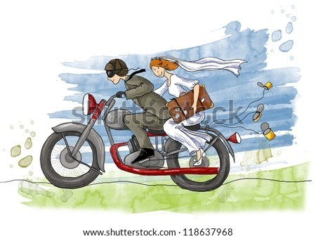 Wedding illustration. Just married. Groom and bride on the motorcycle , - stock photo