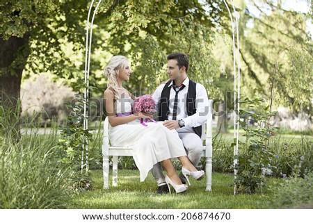 Wedding in garden, happy people - stock photo