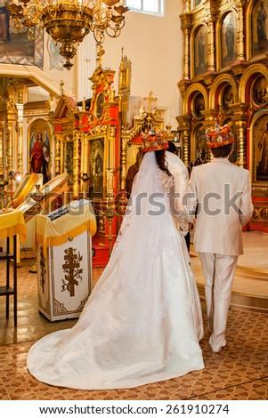 Wedding in the church - stock photo