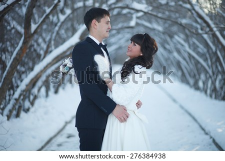 Wedding in the winter. The newlyweds are in the winter park and looking at each other. - stock photo