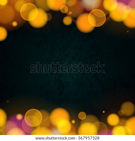 Wedding Invitation Background. Gold Bokeh on Black Chalkboard. Abstract Illustration for Banners, Posters, Advertising and Blurbs. - stock photo