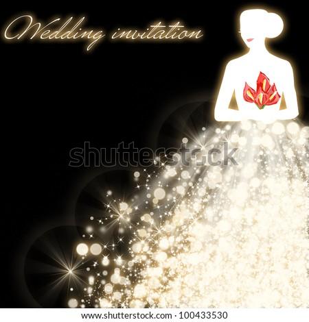 Wedding invitation card - stock photo