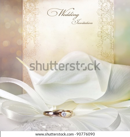 Wedding invitation card with calla lily and golden rings