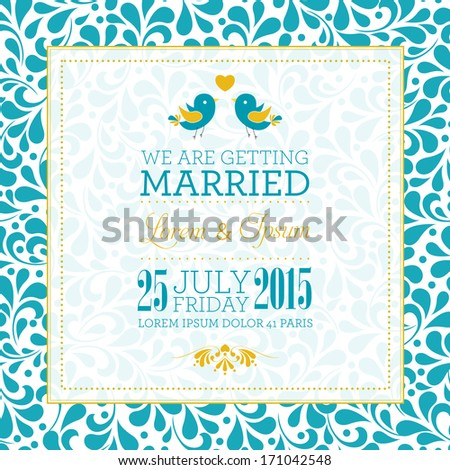 Wedding invitation card with floral ornament background. I Love You. Perfect as invitation or announcement. For vector version, see my portfolio.  - stock photo