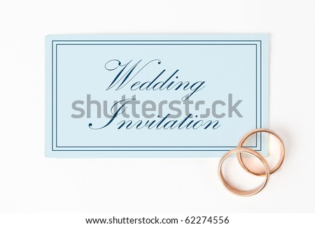 wedding Invitation card with rings - stock photo