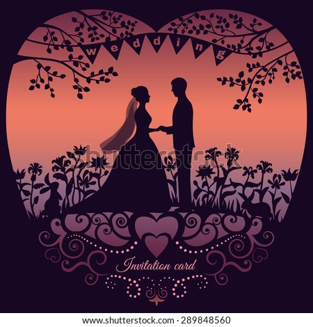 Wedding invitation card with silhouette bride and groom. Raster version illustration
