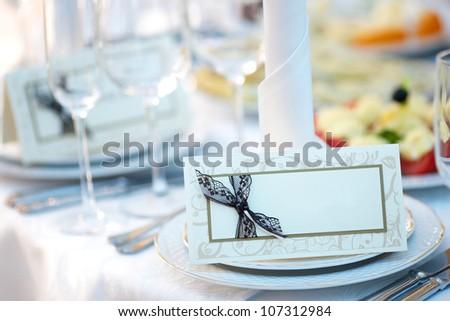 wedding invitation on the table - stock photo