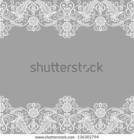 Wedding invitation or greeting card with lace border - stock photo