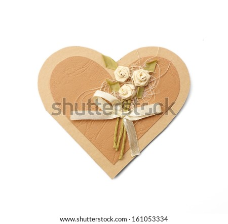 Wedding invitation or valentine love heart card decorated with flower bouquet - stock photo