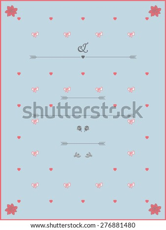 Wedding Invitation template in pastel colours with roses, hearts and birds. - stock photo