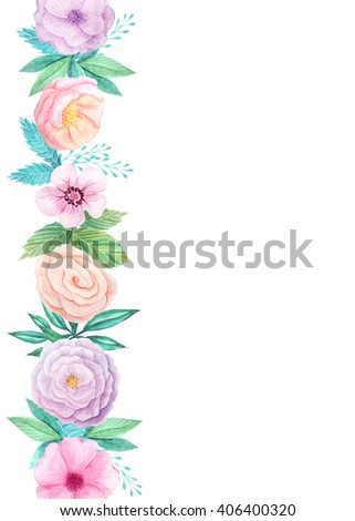 Wedding invitation template with hand painted watercolor flowers and leaves in pastel colors. Decorative floral background perfect for card making, wedding invitation and DIY project - stock photo